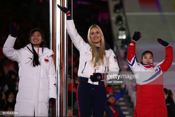 Lindsey Vonn of the United States and Olympic athletes wave during the Closing Ceremony of the PyeongChang 2018 Winter Olympic Games at PyeongChang...