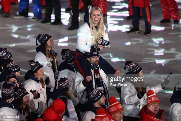 Lindsey Vonn of the United States and Team USA walk in the Parade of Athletes during the Closing Ceremony of the PyeongChang 2018 Winter Olympic...