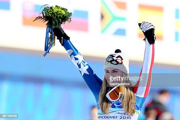 Lindsey Vonn of the United States celebrates winning the gold medal during the Alpine Skiing Ladies Downhill on day 6 of the Vancouver 2010 Winter...
