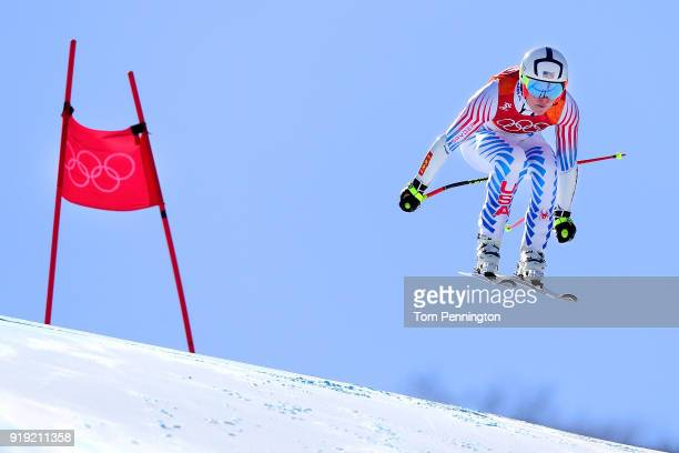 Lindsey Vonn of the United States competes during the Alpine Skiing Ladies SuperG on day eight of the PyeongChang 2018 Winter Olympic Games at...
