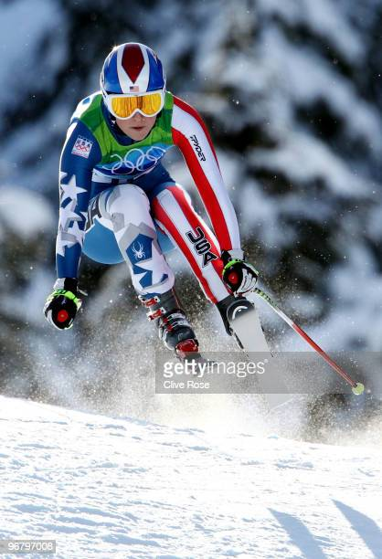 Lindsey Vonn of the United States competes during the Alpine Skiing Ladies Downhill on day 6 of the Vancouver 2010 Winter Olympics at Whistler...