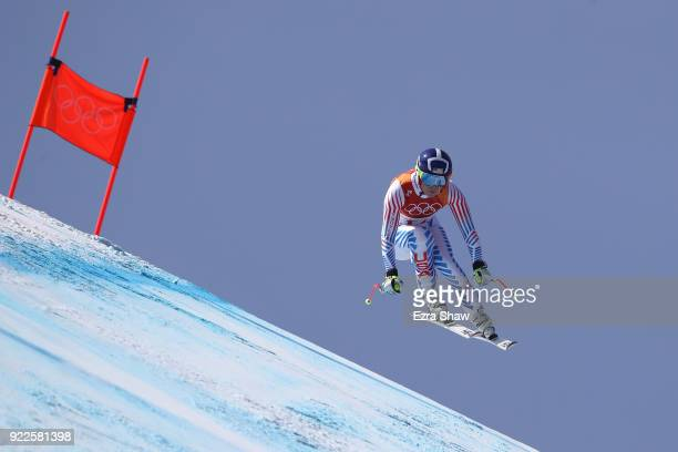 Lindsey Vonn of the United States competes during the Ladies' Alpine Combined on day thirteen of the PyeongChang 2018 Winter Olympic Games at...