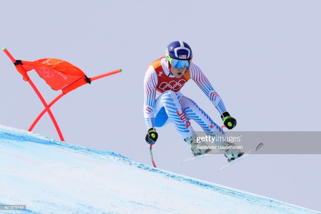 Lindsey Vonn of the United States competes during the Ladies' Downhill on day 12 of the PyeongChang 2018 Winter Olympic Games at Jeongseon Alpine Centre on February 21, 2018 in Pyeongchang-gun, South Korea.