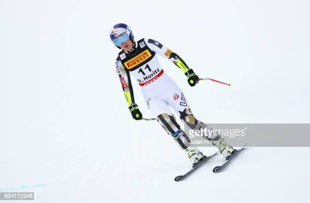 Lindsey Vonn of the United States competes during the Women's Super G during the FIS Alpine World Ski Championships on February 7 2017 in St Moritz...