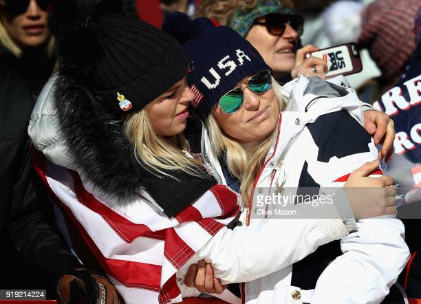 Lindsey Vonn of the United States is consoled at the finish during the Ladies Super G Alpine Skiing on day eight of the PyeongChang 2018 Winter...