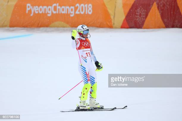 Lindsey Vonn of the United States looks dejected during the Ladies' Alpine Combined on day thirteen of the PyeongChang 2018 Winter Olympic Games at...