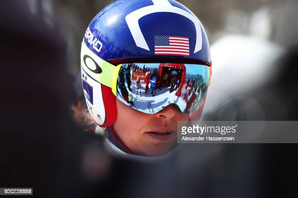 Lindsey Vonn of the United States looks on during Alpine Skiing Ladies' Downhill Training on day 10 of the PyeongChang 2018 Winter Olympic Games at...