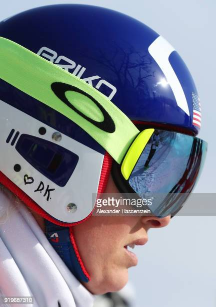 Lindsey Vonn of the United States looks on during the Alpine Skiing Women's Downhill training on day nine of the PyeongChang 2018 Winter Olympic...
