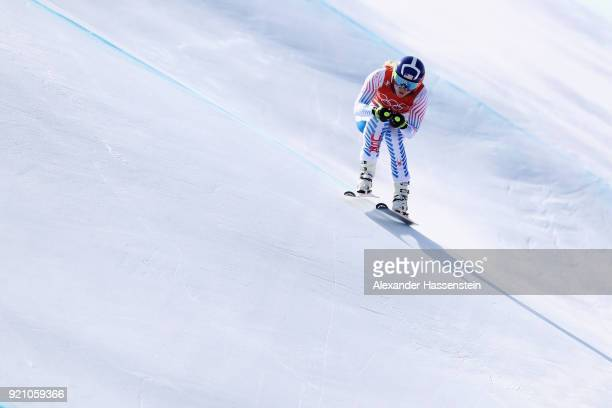 Lindsey Vonn of the United States makes a run during the Ladies' Downhill Alpine Skiing training on day eleven of the PyeongChang 2018 Winter Olympic...