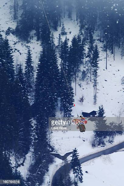 Lindsey Vonn of the United States of America is airlifted off the mountain after crashing while competing in the Women's Super G event during the...
