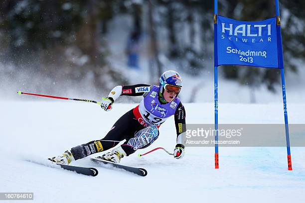 Lindsey Vonn of the United States of America skis before crashing while competing in the Women's Super G event during the Alpine FIS Ski World...