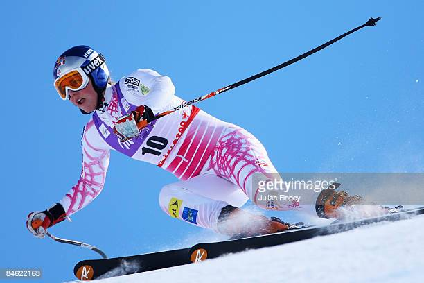 Lindsey Vonn of the United States of America skis during the Women's Downhill Training session held on the Face de Solaise course on February 4 2009...