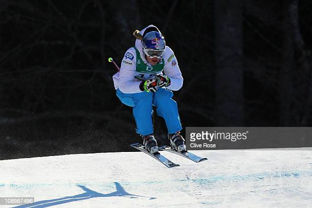 Lindsey Vonn of the United States of America skis in normal skiwear in the Women's Downhill Training during the Alpine FIS Ski World Championships on...