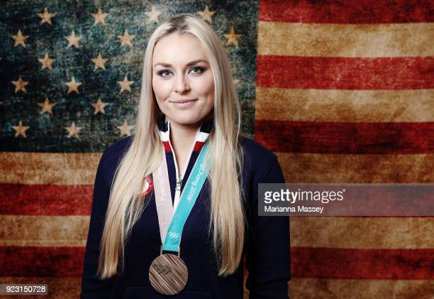 Lindsey Vonn of the United States poses with her bronze medal in the Women's Skiing Downhill on the Today Show Set on February 22 2018 in Gangneung...
