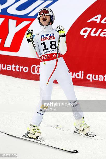 Lindsey Vonn of the United States reacts after crossing the finish line of the Ladies' SuperG in Red Tail Stadium on Day 2 of the 2015 FIS Alpine...