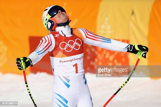 Lindsey Vonn of the United States reacts at the finish during the Alpine Skiing Ladies SuperG on day eight of the PyeongChang 2018 Winter Olympic...
