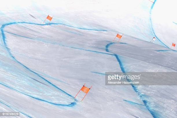 Lindsey Vonn of the United States skis down during the Alpine Skiing Women's Downhill training on day nine of the PyeongChang 2018 Winter Olympic...