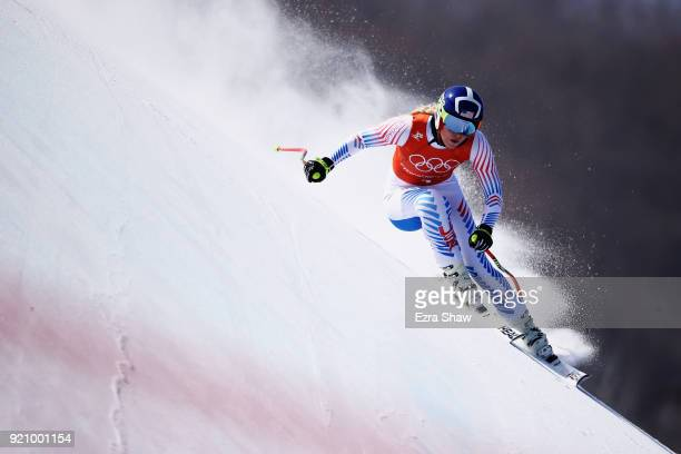 Lindsey Vonn of the United States skis during the Ladies' Downhill Alpine Skiing training on day eleven of the PyeongChang 2018 Winter Olympic Games...