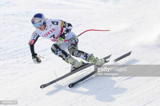 Lindsey Vonn of the United States skis the course during the Audi FIS Ski World Cup 2017 Ladies' Downhill Training at the Jeongseon Alpine Centre on...