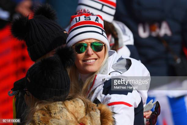 Lindsey Vonn of the United States smiles at the finish during the Ladies' Downhill on day 12 of the PyeongChang 2018 Winter Olympic Games at...