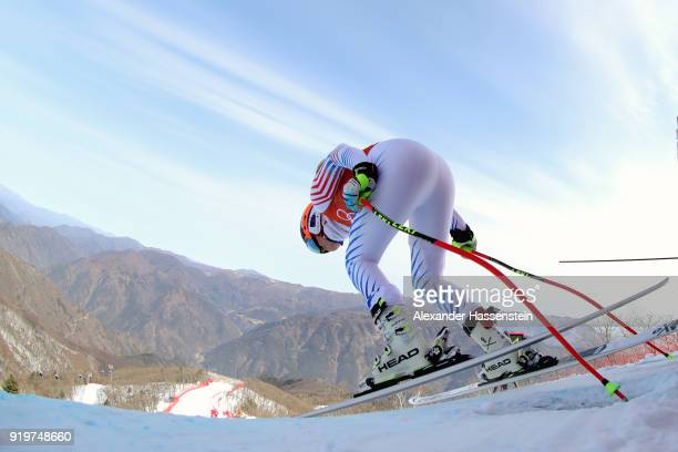 Lindsey Vonn of the United States starts a run during the Alpine Skiing Women's Downhill training on day nine of the PyeongChang 2018 Winter Olympic...
