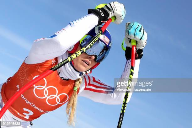 Lindsey Vonn of the United States starts looks on during the Alpine Skiing Women's Downhill training on day nine of the PyeongChang 2018 Winter...