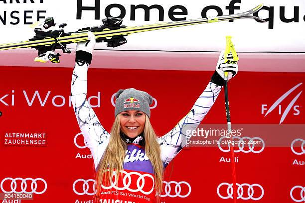 Lindsey Vonn of the United States takes 1st place during the Audi FIS Alpine Ski World Cup Women's Downhill on January 09 2016 in...