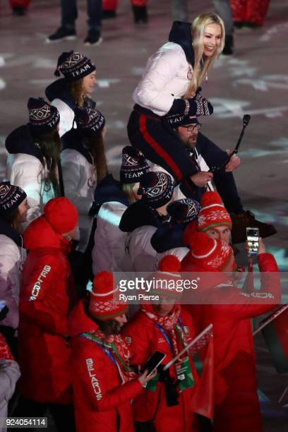 Lindsey Vonn of the United States Team USA and Team Belarus walk in the Parade of Athletes during the Closing Ceremony of the PyeongChang 2018 Winter...