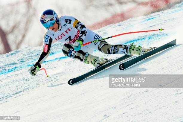 Lindsey Vonn of the US competes to clock the best time in the women's downhill practice during a FIS Alpine Ski World Cup in Jeongseon, some 150km...