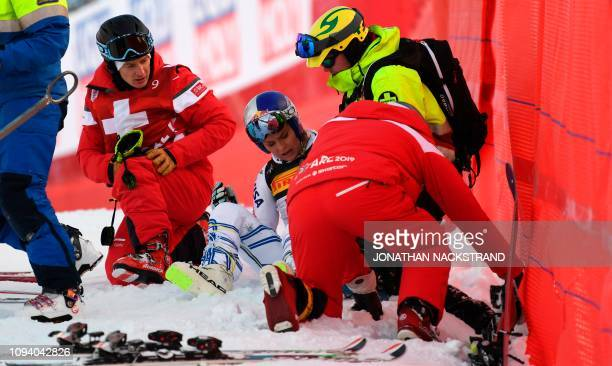 TOPSHOT Lindsey Vonn of the US gets help after she crashed during the women's Super G event of the 2019 FIS Alpine Ski World Championships at the...