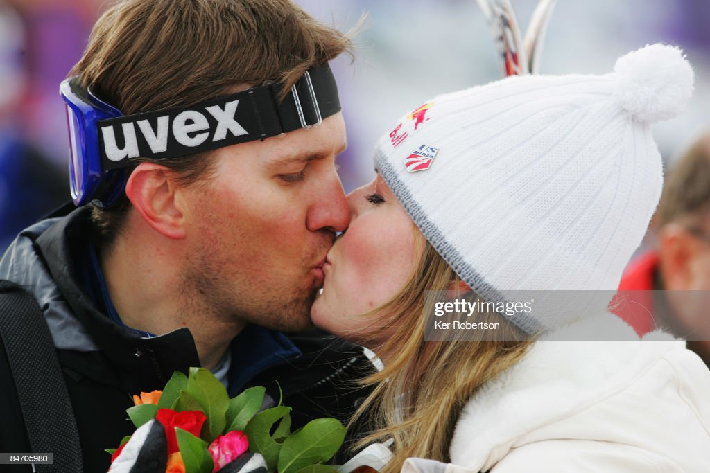 Lindsey Vonn of the U.S. kisses her husband Thomas Vonn as she celebrates victory in the Women's Downhill event held on the Face de Solaise course on February 9, 2009 in Val d'Isere, France.