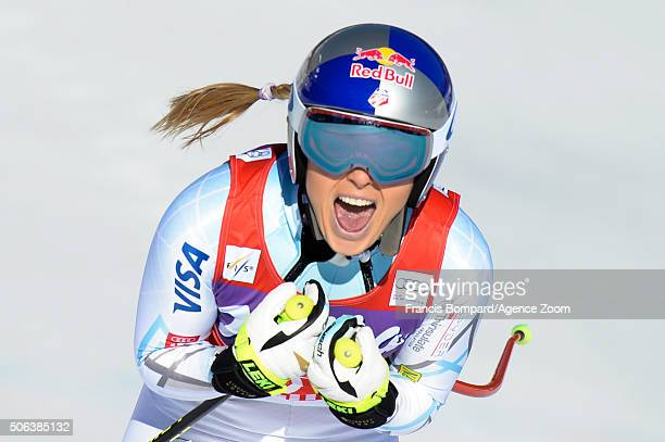 Lindsey Vonn of the USA celebrates during the Audi FIS Alpine Ski World Cup Women's Downhill on January 23 2016 in Cortina dÕAmpezzo Italy