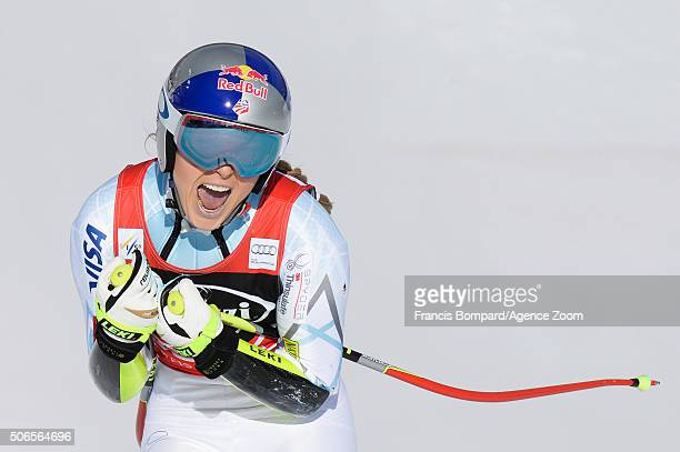 Lindsey Vonn of the USA celebrates during the Audi FIS Alpine Ski World Cup Women's SuperG on January 24 2016 in Cortina d'Ampezzo Italy