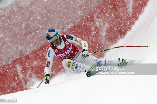 Lindsey Vonn of the USA competes during the Audi FIS Alpine Ski World Cup Women's SuperG on January 20 2013 in Cortina d'Ampezzo Italy