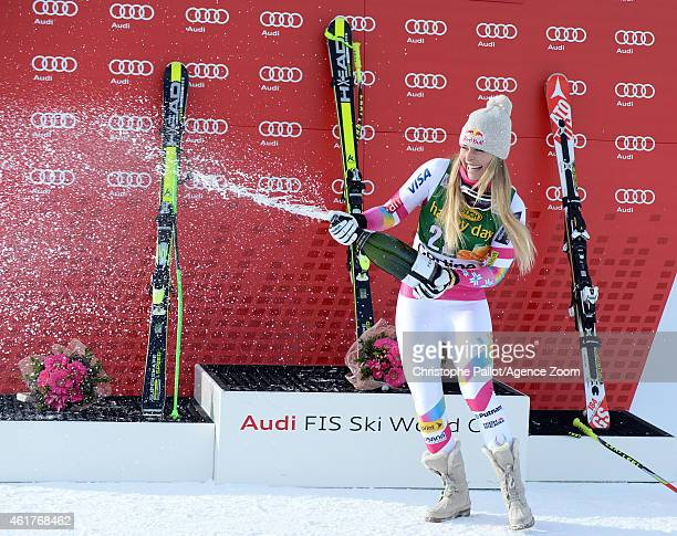 Lindsey Vonn of the USA competes during the Audi FIS Alpine Ski World Cup Women's SuperG on January 19 2015 in Cortina d'Ampezzo Italy