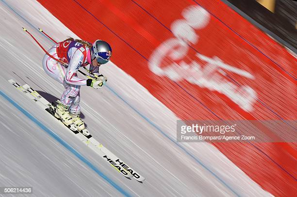 Lindsey Vonn of the USA competes during the Audi FIS Alpine Ski World Cup Women's Downhill Training on January 22 2016 in Cortina d'Ampezzo Italy