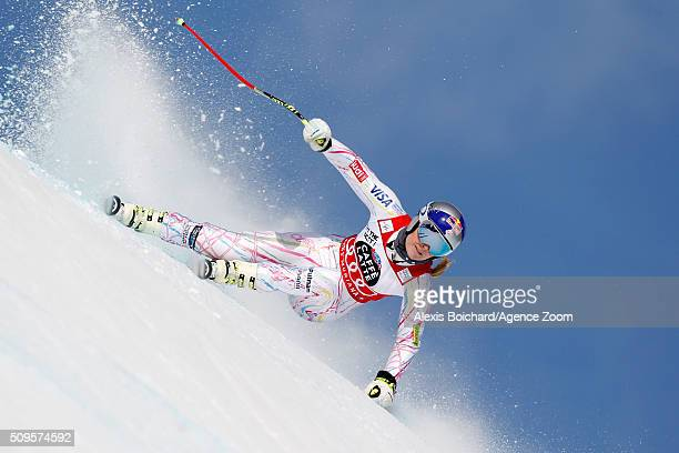 Lindsey Vonn of the USA competes during the Audi FIS Alpine Ski World Cup Women's Downhill Training on February 11 2016 in Crans Montana Switzerland