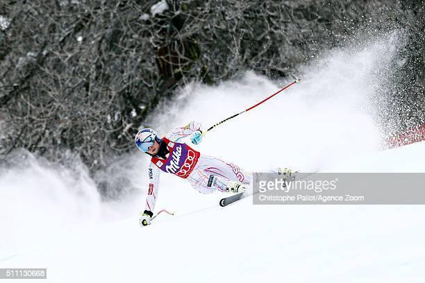 Lindsey Vonn of the USA competes during the Audi FIS Alpine Ski World Cup Women's Downhill Training on February 18 2016 in La Thuile Italy