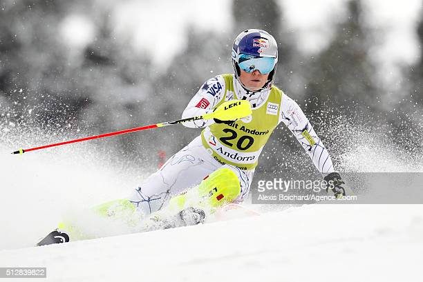 Lindsey Vonn of the USA competes during the Audi FIS Alpine Ski World Cup Women's Super Combined on February 28 2016 in Soldeu Andorra