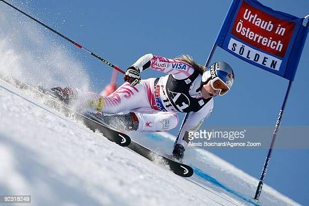 Lindsey Vonn of the USA during the Alpine FIS Ski World Cup Women's Giant Slalom on October 24, 2009 in Solden, Austria.