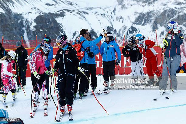 Lindsey Vonn of the USA during the Audi FIS Alpine Ski World Cup Women's Downhill Training on December 16 2015 in VAL D'ISERE France