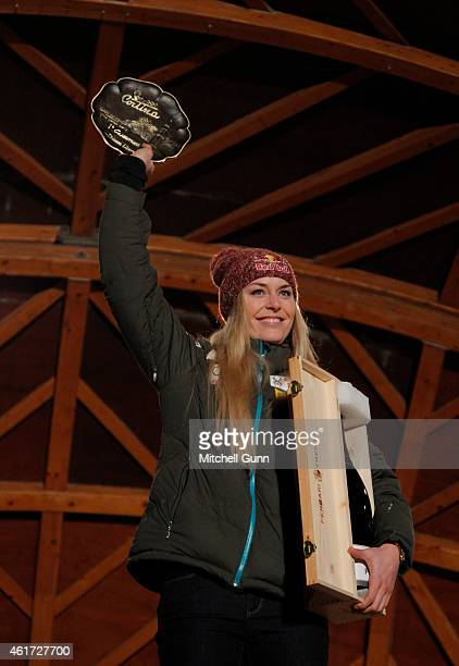 Lindsey Vonn of the USA during the prize giving ceremony at the FIS Alpine Ski World Cup Women's downhill race on January 18 2015 in Cortina...