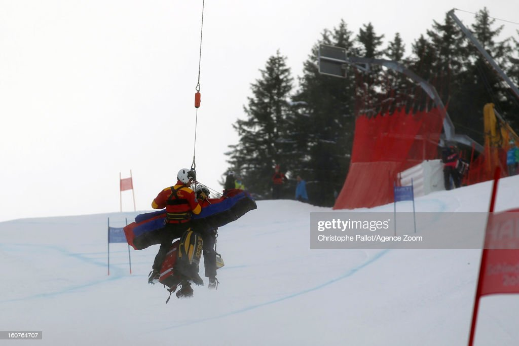 Lindsey Vonn of the USA is helicoptered off the course during the Audi FIS Alpine Ski World Championships Women's SuperG on February 05, 2013 in Schladming, Austria.