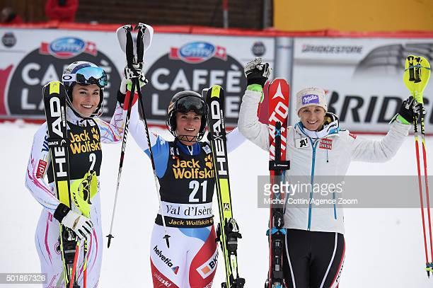 Lindsey Vonn of the USA Lara Gut of Switzerland Michaela Kirchgasser of Austria on the podium during the Audi FIS Alpine Ski World Cup Women's...