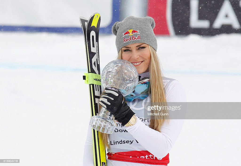 Lindsey Vonn of The USA poses with the crystal globe for overall downhill during the Audi FIS Alpine Skiing World Cup downhill on March 16, 2016 in St Moritz, Switzerland.