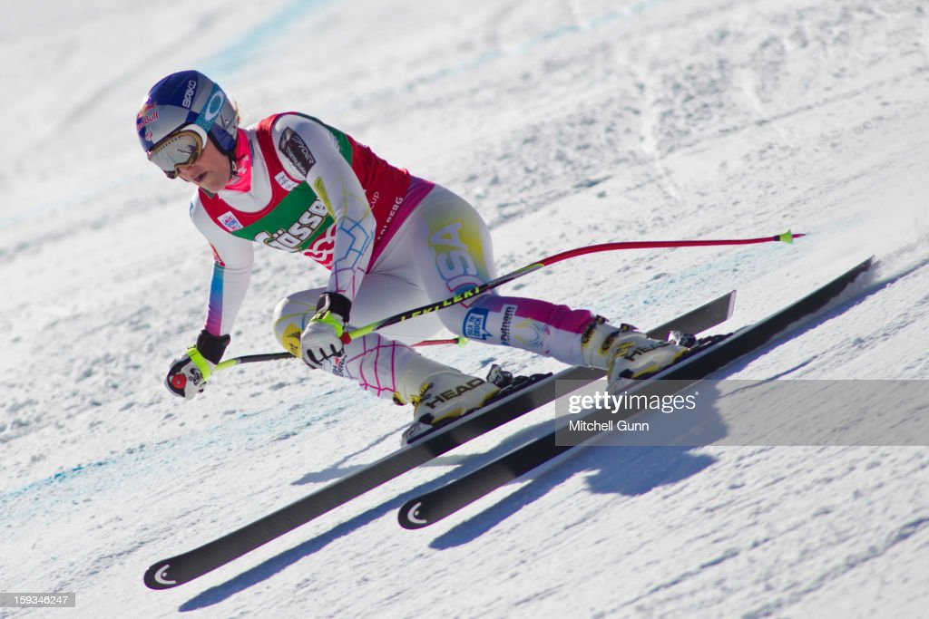 Lindsey Vonn of the USA races down the Kandahar course whilst competing in the Audi FIS Alpine Ski World Cup downhill race on January 12, 2013 in St Anton, Austria.
