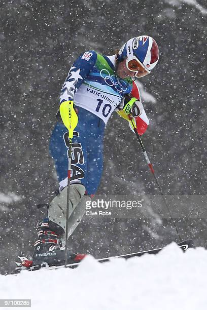 Lindsey Vonn of the USA reacts after missing a gate during the Ladies Slalom first run on day 15 of the Vancouver 2010 Winter Olympics at Whistler...