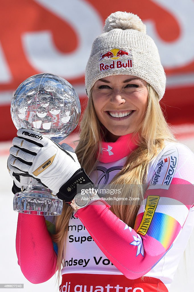 Lindsey Vonn of the USA takes 1st place and wins the overall SuperG World Cup globe during the Audi FIS Alpine Ski World Cup Finals Women's Super G on March 19, 2015 in Meribel, France.