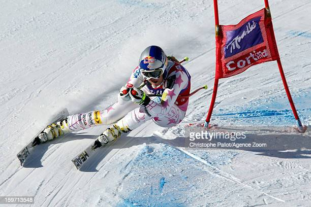 Lindsey Vonn of the USA takes 1st place competes during the Audi FIS Alpine Ski World Cup Women's Downhill on January 19 2013 in Cortina D'ampezzo...