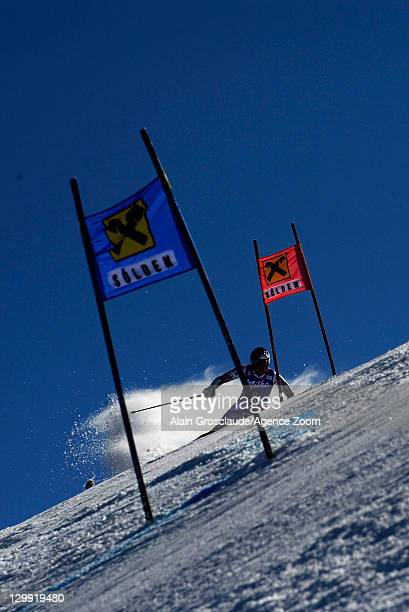 Lindsey Vonn of the USA takes 1st place during the Audi FIS Alpine Ski World Cup Women's Giant Slalom on October 22, 2011 in Soelden, Austria.